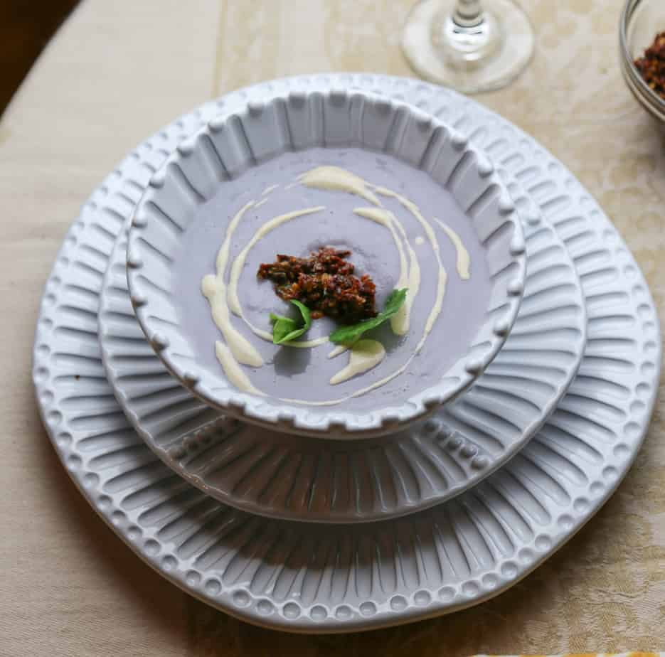 , Simple Cauliflower Soup with Sundried Tomato Tapenade