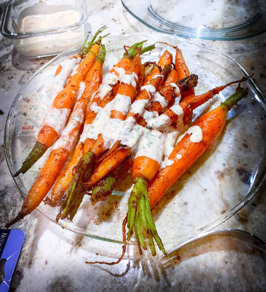 , Roasted Carrots with Spanish Spices and Harissa Yogurt Sauce