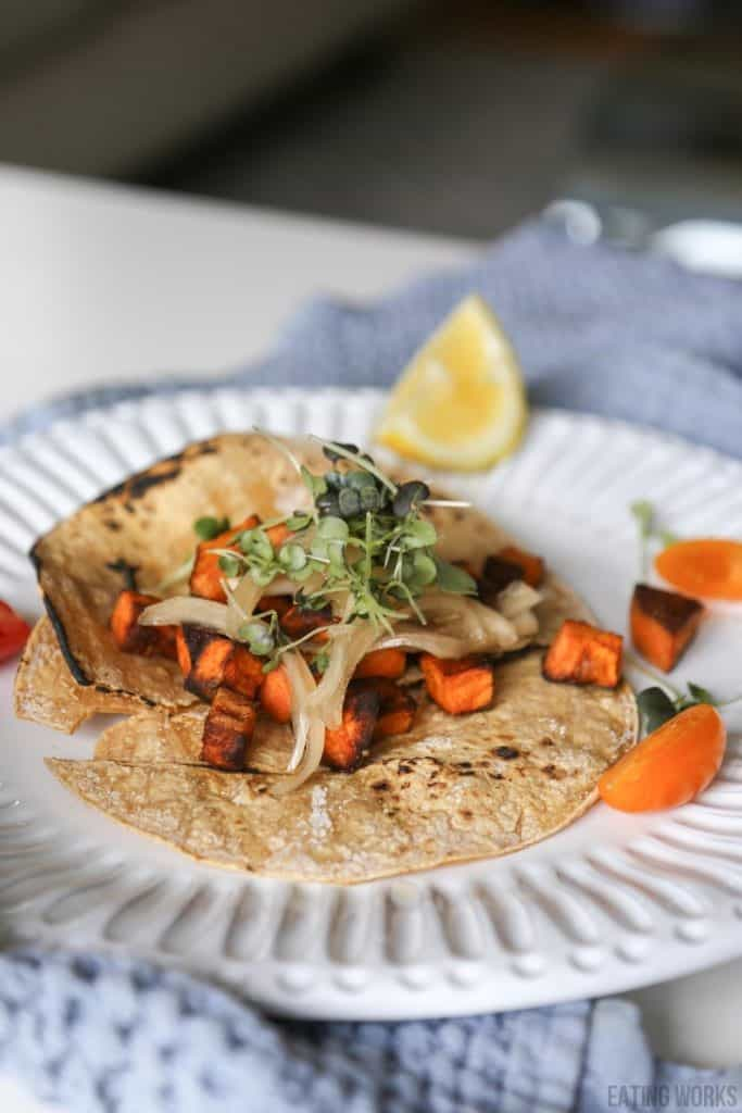 Healthy Taco Recipe, Sweet Potato Tacos with Black Beans and Pickled Green Onions